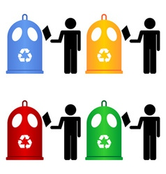 recycling trash signs vector image vector image