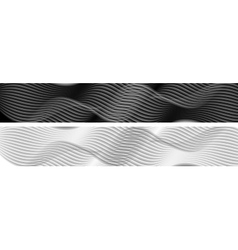 Abstract black and white wavy banners vector