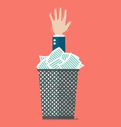 Businessman under a lot of documents in the trash vector image vector image