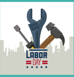 colorful poster of happy labor day with silhouette vector image