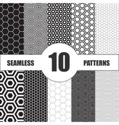 Vintage set seamless elements design vector image