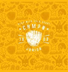 baseball seamless pattern and championship emblem vector image