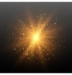 Light effect star burst with sparkles vector