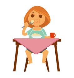 little redhead girl sits at table and has vector image
