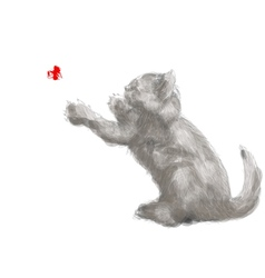 playing cat vector image vector image