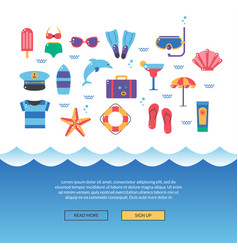 summer icon poster colorful sea vacation concept vector image
