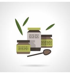 Three jars of baby food flat color icon vector image