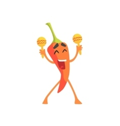 Happy Red Hot Chili Pepper Humanized Emotional vector image vector image