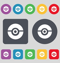 pokeball icon sign A set of 12 colored buttons vector image vector image