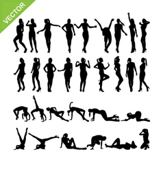 Sexy women and dancing silhouettes set 14 vector image