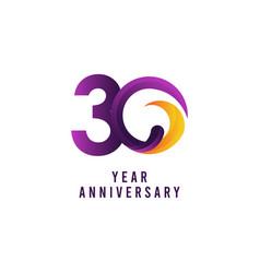 30 years anniversary purple template design vector