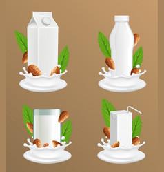 almond milk package realistic mockup set vector image