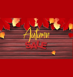 autumn sale text banner design with vector image