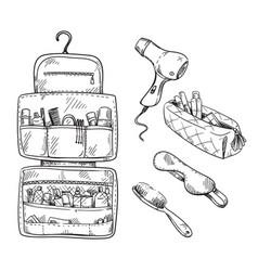 Beauty travel kit wash bag set travel vector