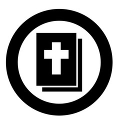 bible icon black color in circle round vector image