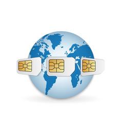blank sim cards around earth global mobile vector image