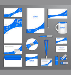 Blue corporate id template company style vector