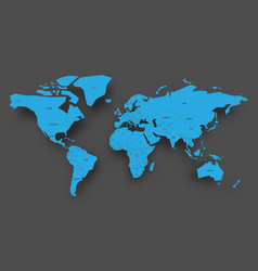 blue map of world on grey background vector image