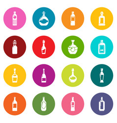bottles icons set colorful circles vector image