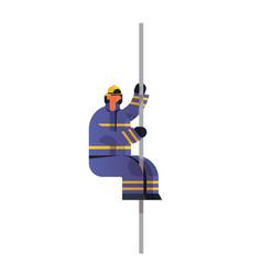 Brave fireman sliding down pole fire vector