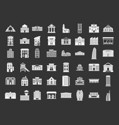 building icon set grey vector image