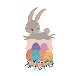 Bunny jumping over frame with easter eggs and vector