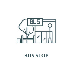 bus stop line icon bus stop outline sign vector image
