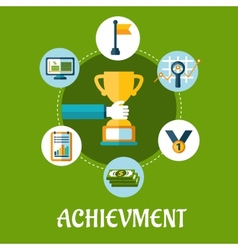 Business achievment and success flat icons vector image