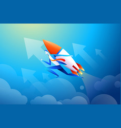 businessman flying on rocket graph that shows vector image