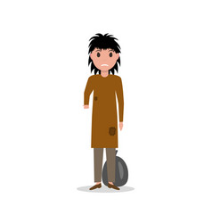 Cartoon woman indigent beggar homeless vector