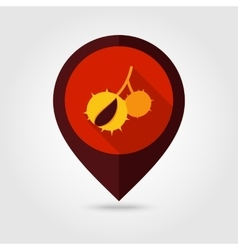 Chestnut flat mapping pin icon vector