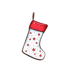 christmas sock with stars pattern vector image