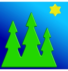 Christmas trees and star vector image