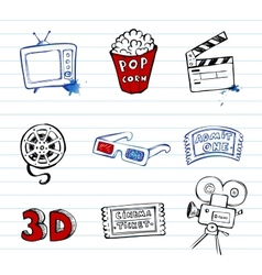 Cinema symbols set vector image