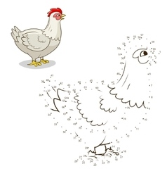Connect the dots game hen vector