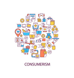 Consumerism abstract color concept layout vector