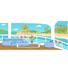 couch chair table on cruise liner deck with view vector image