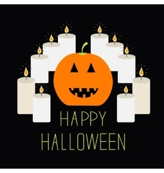 Cute funny pumpkin Candle pyramid Halloween card vector