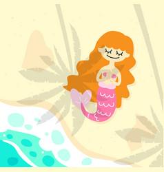 Cute mermaid on beach vector