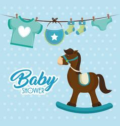 Cute wooden horse baby shower card vector