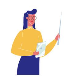 Female teacher with pointer vector