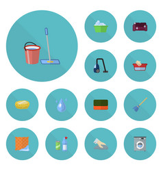 flat icons towel besom mopping and other vector image