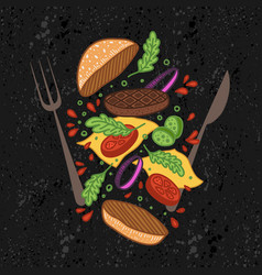flipping burger food levitation vector image