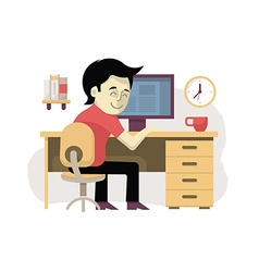 Freelancer at His Workplace vector image