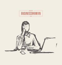 freelancer woman laptop computer art sketch vector image