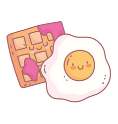 fried egg and waffle with jam menu restaurant vector image