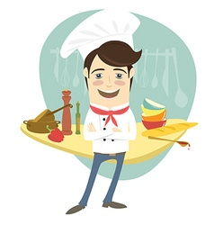 Funny chef standing with his arms folded in the vector image