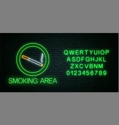 Glowing neon sign smoking area with alphabet vector