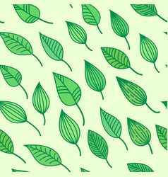 green seamless pattens with leaves summer vector image