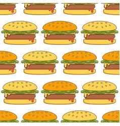 hamburger seamless pattern vector image